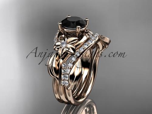 Unique 14k rose gold diamond flower, leaf and vine wedding ring, engagement set with a Black Diamond center stone ADLR224S