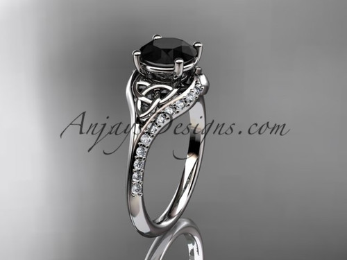 14kt white gold diamond celtic trinity knot wedding ring, engagement ring with a Black Diamond center stone CT7125