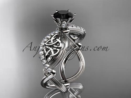 platinum diamond celtic trinity knot wedding ring, engagement ring with a Black Diamond center stone CT7192