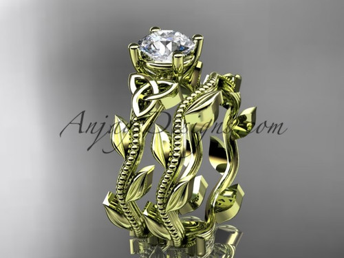 Welsh Knot Marriage Ring, Yellow Gold Celtic Ring CT7238S
