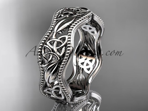14kt white gold celtic trinity knot wedding band, engagement  ring CT7190G