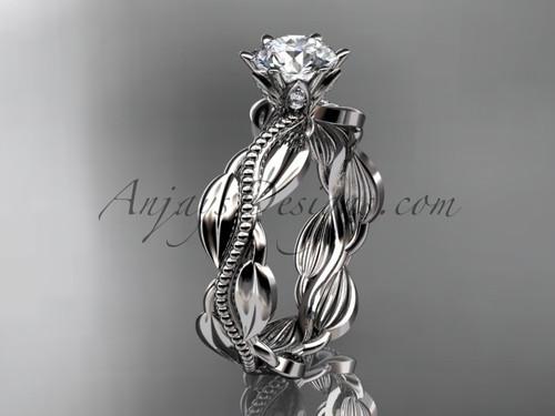 Unique 14k white gold leaf and vine engagement ring, wedding ring ADLR258
