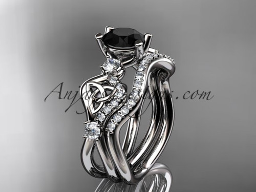 14kt white gold celtic trinity knot engagement set, wedding ring with a Black Diamond center stone CT768S
