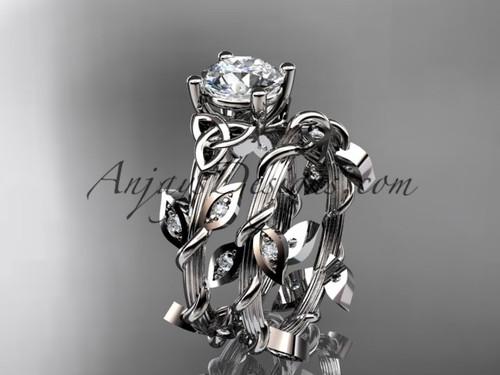 platinum diamond celtic trinity knot wedding ring, engagement set CT7215S