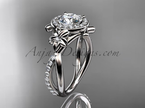 """14kt white gold diamond leaf and vine wedding ring, engagement ring with a """"Forever One"""" Moissanite center stone ADLR89"""