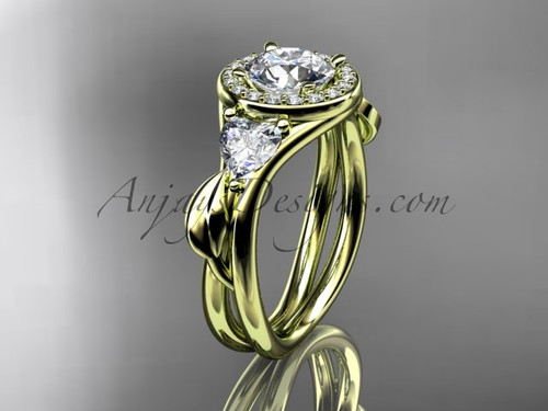 """14kt yellow gold diamond unique engagement ring, wedding ring with a """"Forever One"""" Moissanite center stone ADLR314"""
