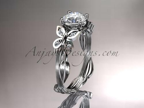 Platinum diamond leaf and vine wedding ring, engagement ring ADLR251