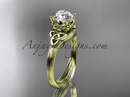 Moissanite Celtic Yellow Gold Cheap Engagement Ring CT7240