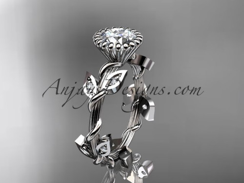 """platinum diamond leaf and vine wedding ring,engagement ring with a """"Forever One"""" Moissanite center stone ADLR20A"""