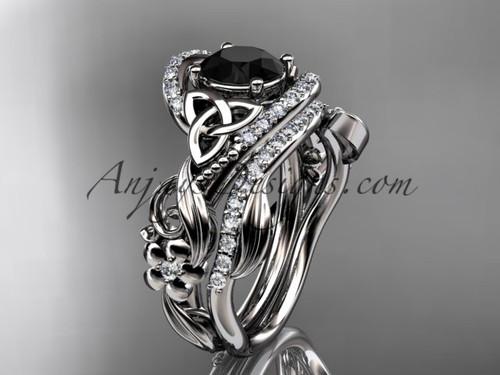14kt white gold diamond celtic trinity knot wedding ring, engagement set with a Black Diamond center stone CT7211S