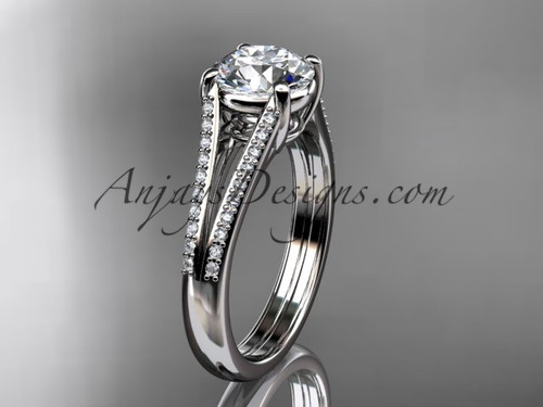 """14kt white gold diamond unique engagement ring, wedding ring with a """"Forever One"""" Moissanite center stone ADER108"""