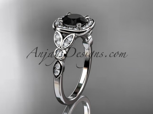 14kt white gold diamond leaf and vine wedding ring, engagement ring with a Black Diamond center stone ADLR179