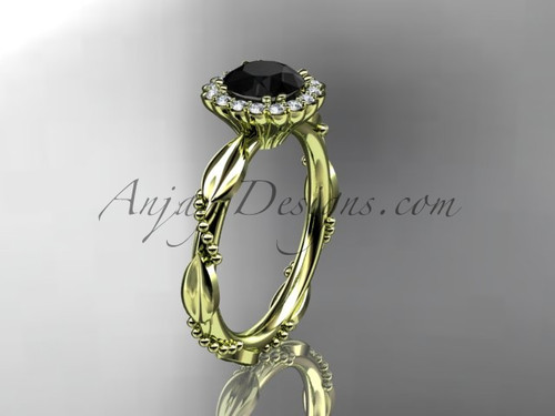 14kt yellow gold diamond leaf and vine wedding ring, engagement ring with a Black Diamond center stone ADLR337