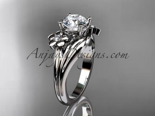 platinum diamond leaf and vine wedding ring, engagement ring ADLR159