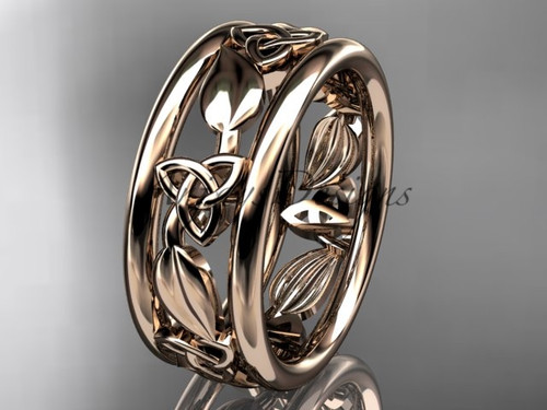 14kt rose gold celtic trinity knot wedding band, engagement  ring CT7233G