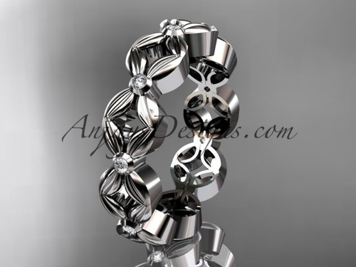 platinum  diamond flower wedding ring,engagement ring,wedding band ADLR18A