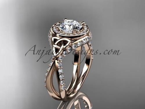 14kt rose gold diamond celtic trinity knot  wedding ring, engagement ring  CT7416