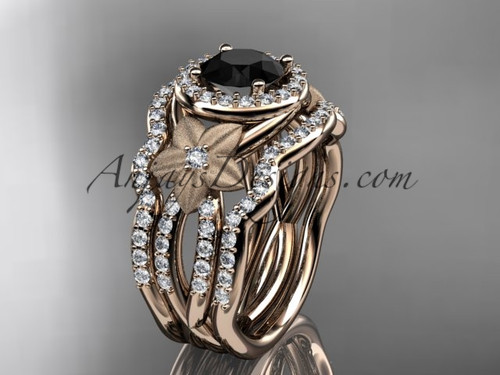 14kt rose gold  diamond floral wedding ring, engagement ring with a Black Diamond center stone and double matching band ADLR127S