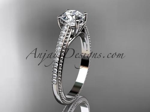 "14kt white gold diamond unique engagement ring, wedding ring with  ""Forever One"" Moissanite center stone ADER87"