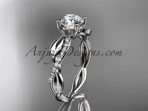 """14kt white gold leaf  diamond wedding ring, engagement ring with a """"Forever One"""" Moissanite center stone ADLR385"""