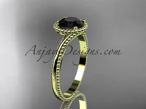 14kt yellow gold  wedding ring, engagement ring with a Black Diamond center stone ADLR389