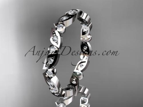 platinum diamond leaf and vine wedding band, engagement ring ADLR13B