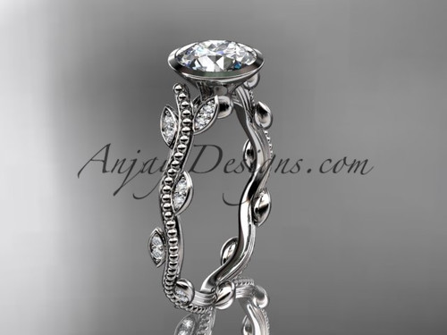 "14k white gold diamond leaf and vine wedding ring, engagement ring with  ""Forever One"" Moissanite center stone ADLR33"