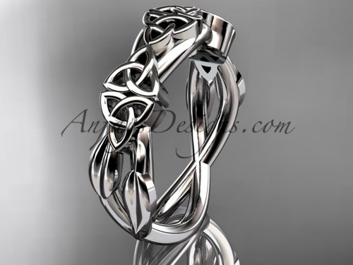 14kt white gold celtic trinity knot wedding band, engagement  ring CT7204G