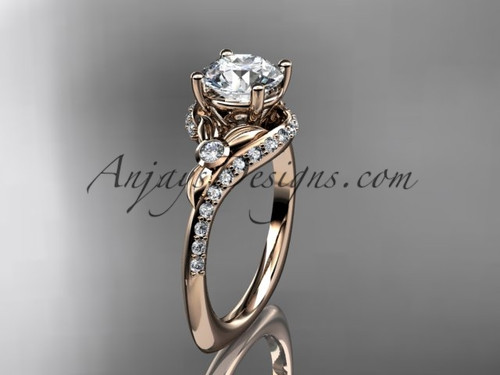 """14kt rose gold diamond leaf and vine engagement ring with a """"Forever One"""" Moissanite center stone ADLR112"""
