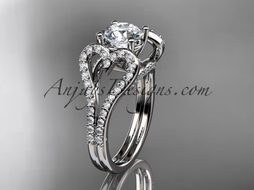 """14kt white gold heart  engagement ring, wedding ring with a """"Forever One"""" Moissanite center stone ADER395"""