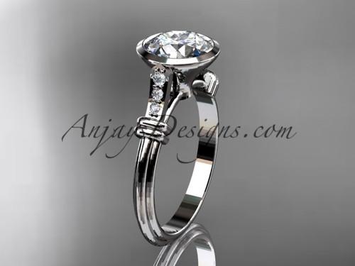 "Platinum  diamond leaf and vine wedding ring,engagement ring with  ""Forever One"" Moissanite center stone ADLR23"