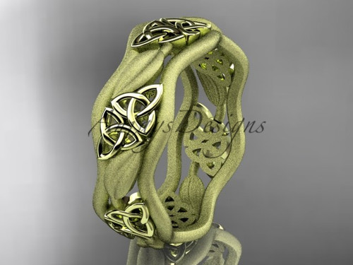 Triquetra Engagement Rings, Yellow Gold Celtic Band CT7512GM