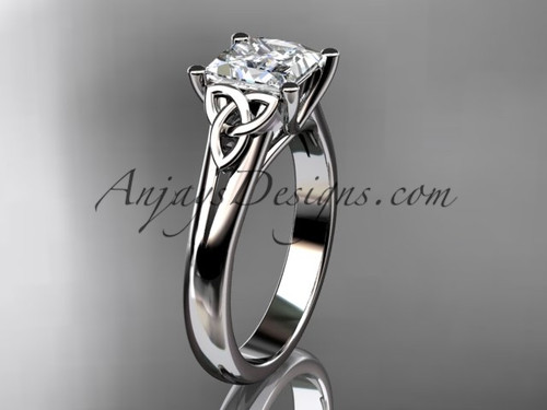 "14kt white gold celtic trinity knot wedding ring, engagement ring with a Princess cut ""Forever One"" Moissanite center stone CT7143"