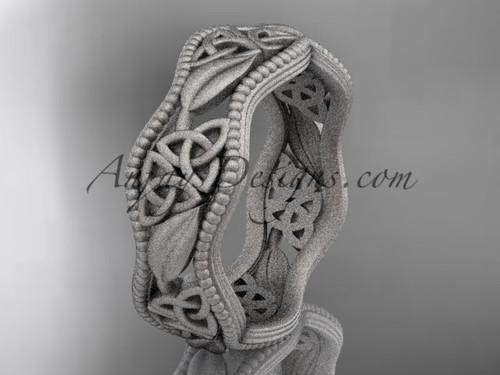 platinum celtic trinity knot wedding band, matte finish wedding band, engagement ring CT7190G