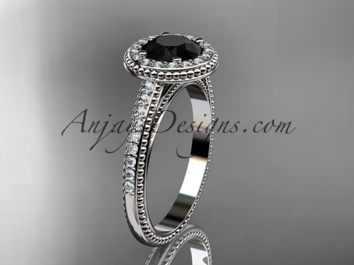 14kt white gold diamond unique engagement ring, wedding ring with a Black Diamond center stone ADER104