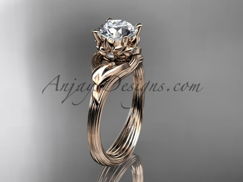 "14kt rose gold diamond flower, leaf and vine wedding ring, engagement ring with a ""Forever One"" Moissanite center stone ADLR240"