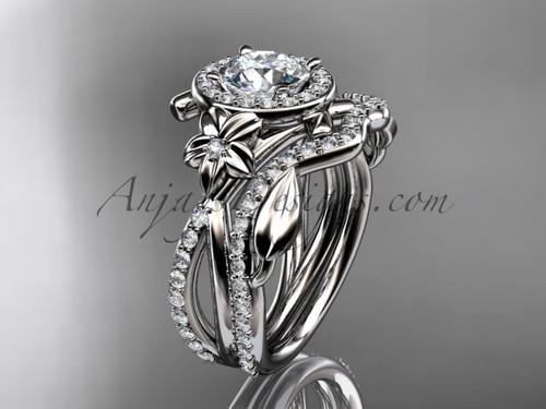 "14kt white gold diamond leaf and vine, flower engagement set, wedding set,  with a ""Forever One"" Moissanite center stone ADLR89S"