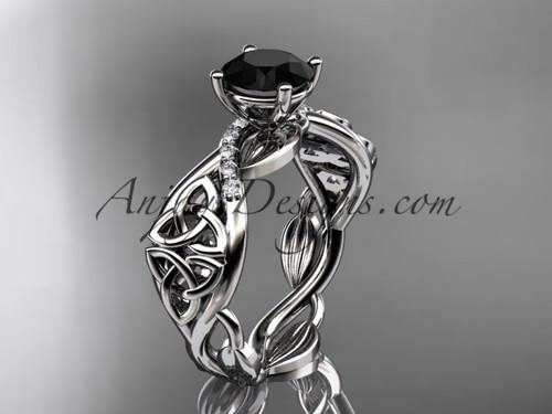 platinum diamond celtic trinity knot wedding ring, engagement ring with a Black Diamond center stone CT7270