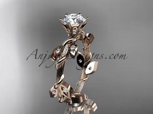 14kt rose gold diamond leaf and vine wedding ring,engagement ring ADLR20