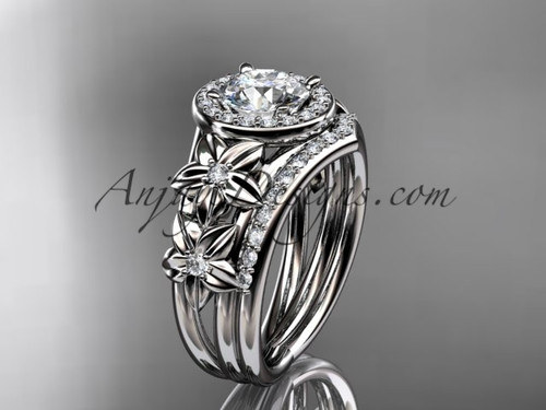 """platinum diamond floral wedding ring, engagement set with a """"Forever One"""" Moissanite center stone ADLR131S"""