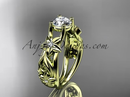 Flower Engagement Ring Yellow Gold Moissanite Ring ADLR216