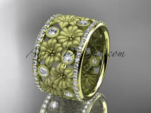 14k yellow gold diamond flower wedding band, engagement ring ADLR232B