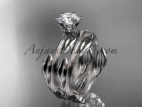 """platinum leaf and vine wedding ring, engagement set with a """"Forever One"""" Moissanite center stone ADLR343S"""