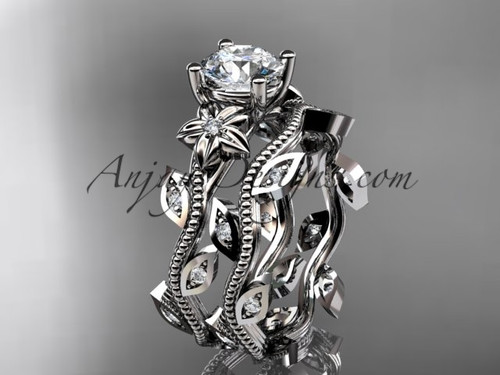 "14k white gold diamond leaf and vine wedding ring, engagement ring, engagement set with a ""Forever One"" Moissanite center stone ADLR151S"