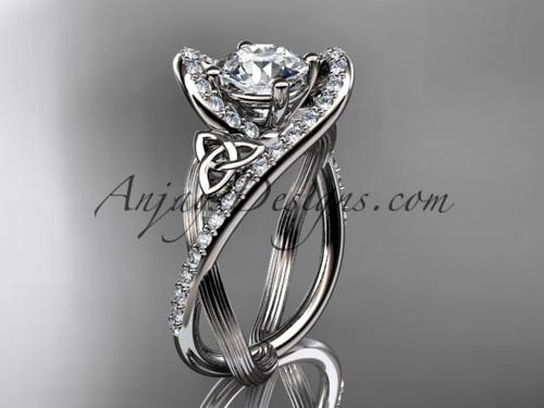 14kt white gold diamond celtic trinity knot wedding ring, engagement ring CT7369