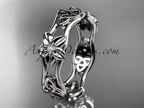 14kt white gold diamond celtic trinity knot wedding band, flower engagement ring CT7153B