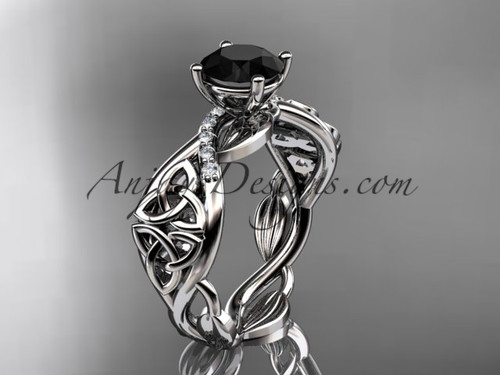 14kt white gold diamond celtic trinity knot wedding ring, engagement ring with a Black Diamond center stone CT7270