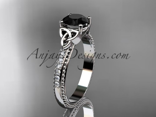 14kt white gold diamond celtic trinity knot wedding ring, engagement ring with a Black Diamond center stone CT7391