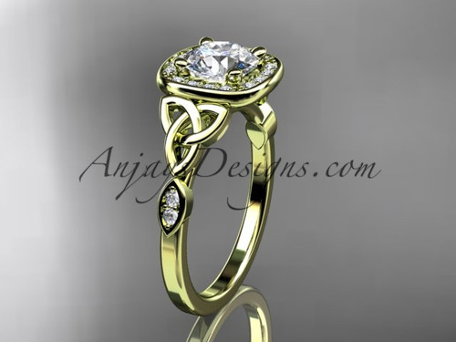 """14kt yellow gold diamond celtic trinity knot wedding ring, engagement ring with a """"Forever One"""" Moissanite center stone CT7179"""