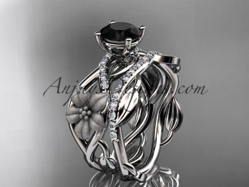 Leaf Bridal Ring Set White Gold Flower Wedding Ring ADLR270S